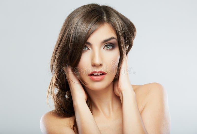 Ritratto di modo di stile di capelli della donna chiuda su fac femminile immagini stock libere da diritti