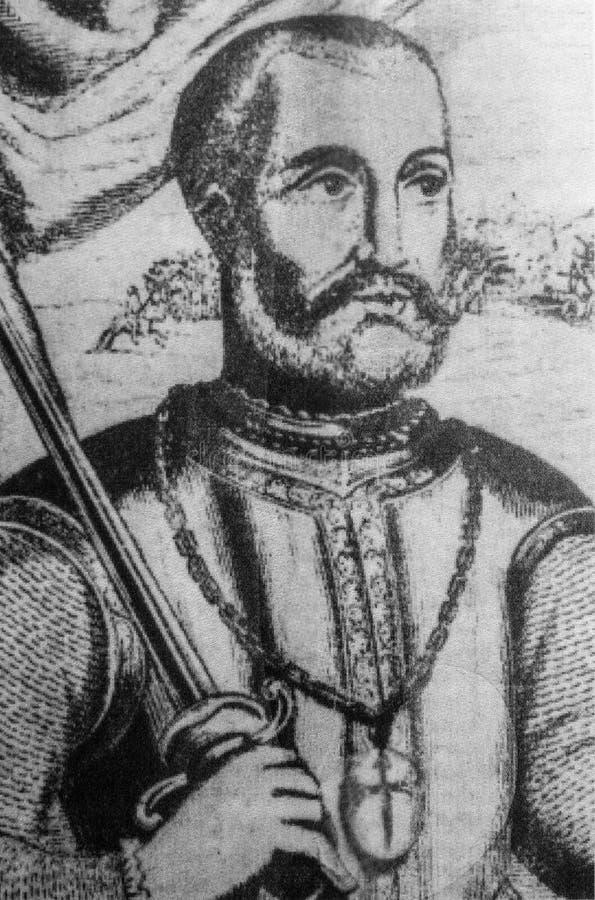 Ritratto di Pedro de Alvarado, conquistador spagnolo immagine stock