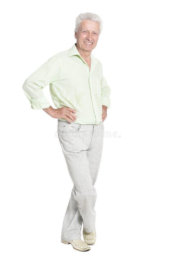 Ritratto di posa dell'uomo senior isolato su fondo bianco immagine stock