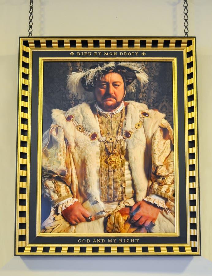 Ritratto di re Henry VIII dell'Inghilterra nel palazzo di Hampton Court immagini stock libere da diritti