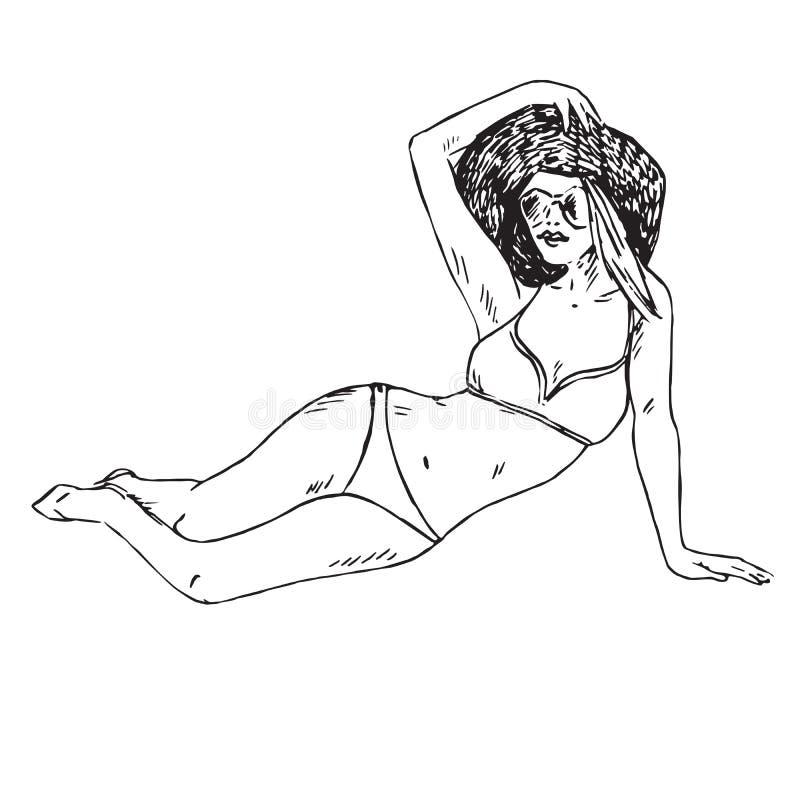 Ritratto di retro perno sulla ragazza in bikini, cappello ed occhiali da sole sedentesi, scarabocchio disegnato a mano del profil illustrazione vettoriale