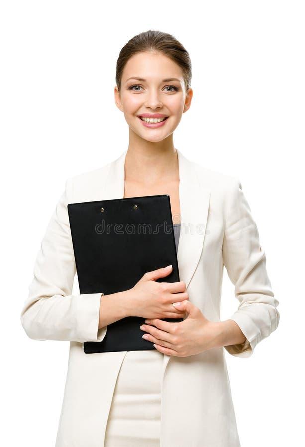 Ritratto di ritratto a mezzo busto della donna di affari con le carte fotografia stock libera da diritti