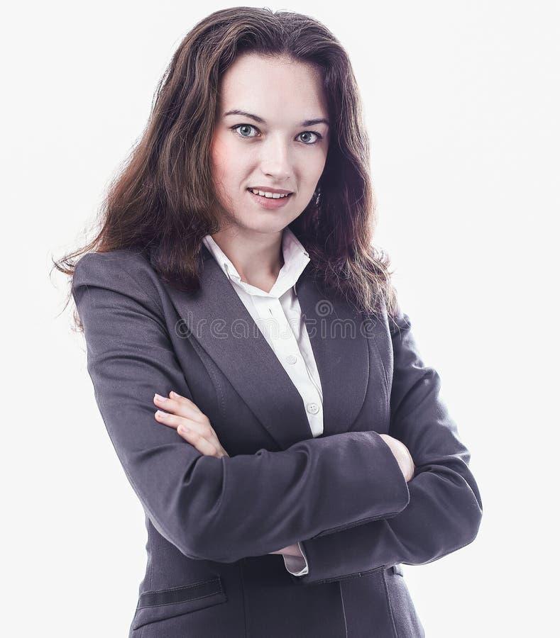 Ritratto di riuscita donna di affari Isolato su bianco immagine stock libera da diritti