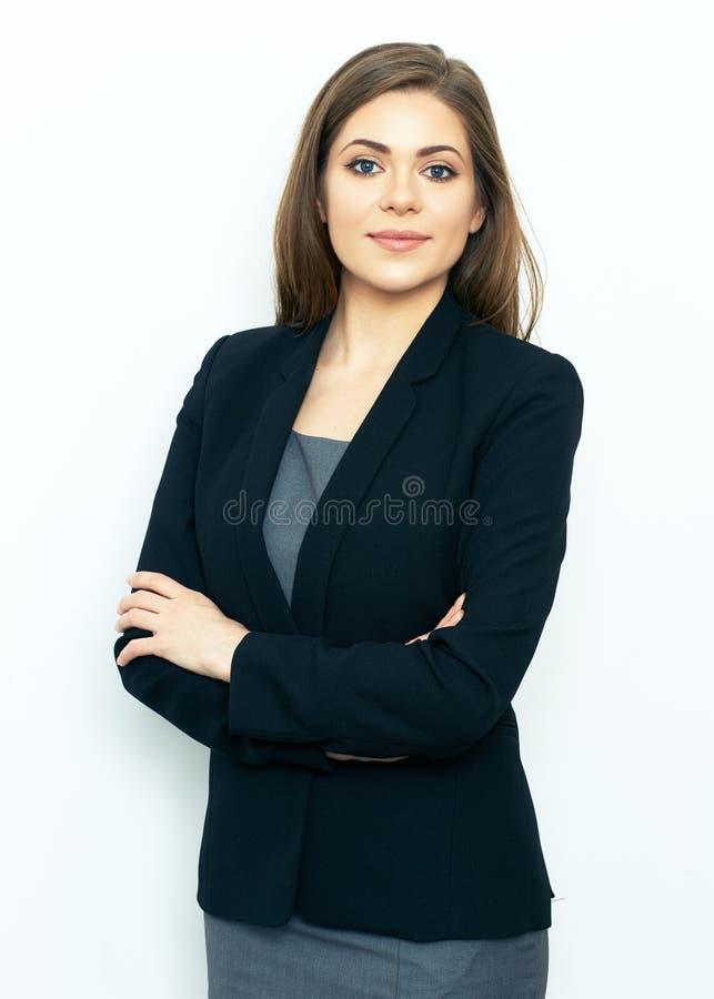 Ritratto di riuscita donna di affari su fondo bianco immagine stock