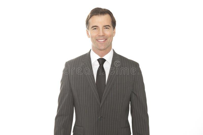 Ritratto di riuscito uomo d'affari Isolated On White fotografie stock libere da diritti