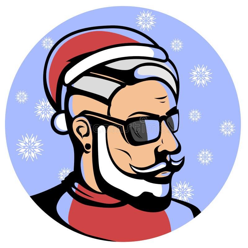 Ritratto di Santa Claus alla moda - pantaloni a vita bassa illustrazione di stock