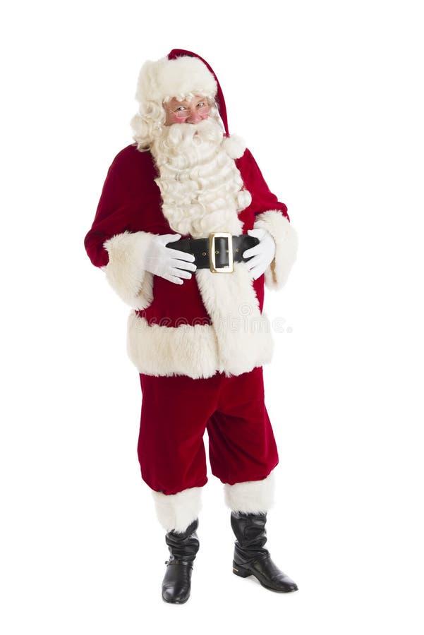 Ritratto di Santa Claus With Hands On Stomach immagine stock libera da diritti