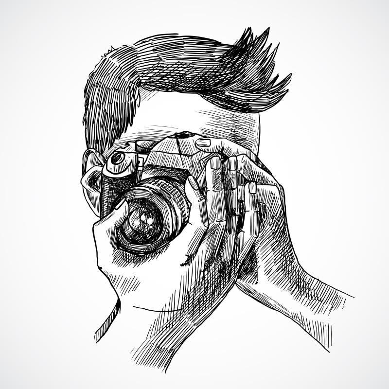 Ritratto di schizzo del fotografo illustrazione di stock