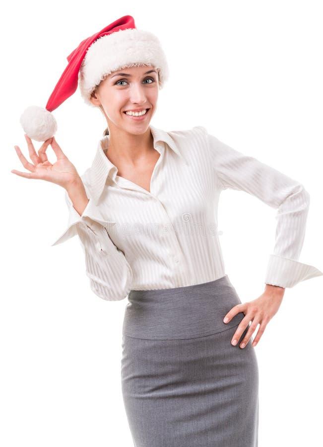 Ritratto di segretario nel cappello di Santa Claus fotografia stock libera da diritti