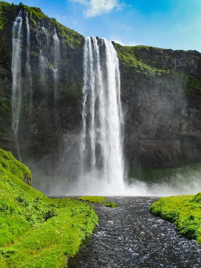 Ritratto di Seljalandsfoss, uno del waterf islandese più famoso fotografia stock libera da diritti