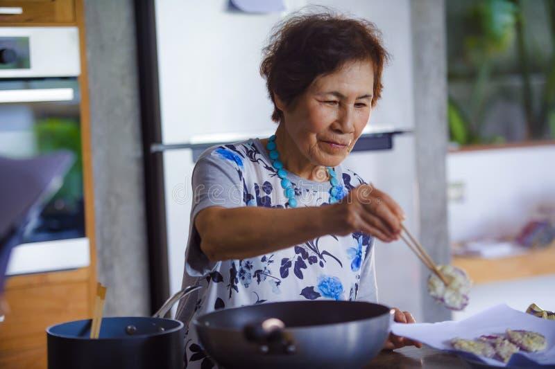 Ritratto di stile di vita del reti giapponese asiatico felice e dolce senior fotografia stock libera da diritti