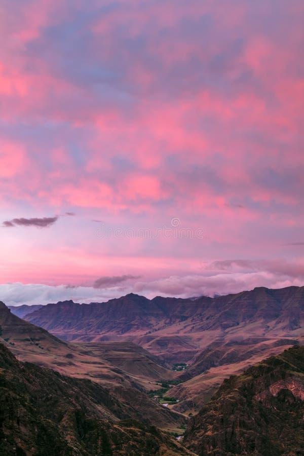 Ritratto di tramonto del canyon di Imnaha fotografia stock