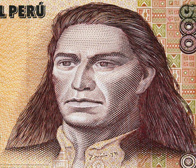 Ritratto di Tupac Amaru II sul peruviano 500 inti & x28; 1987& x29; primo piano della banconota, capo della ribellione indigena c fotografia stock libera da diritti