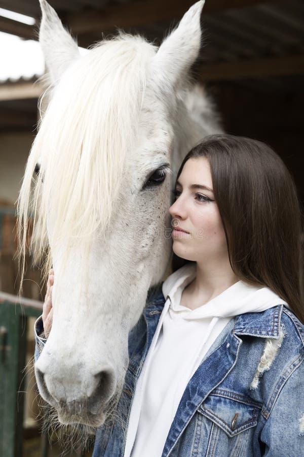 Ritratto di un adolescente che tocca un cavallo fotografie stock