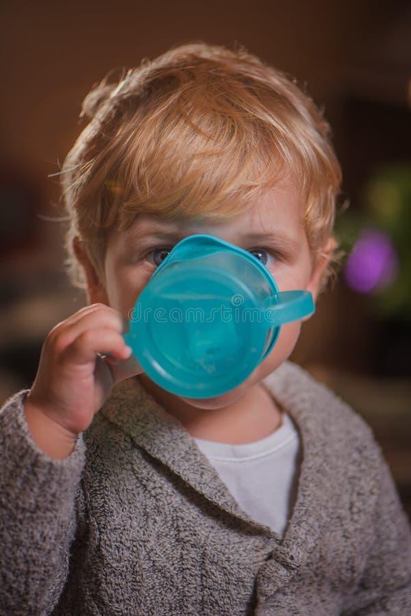Ritratto di un bambino che beve un bicchiere d'acqua fotografia stock libera da diritti
