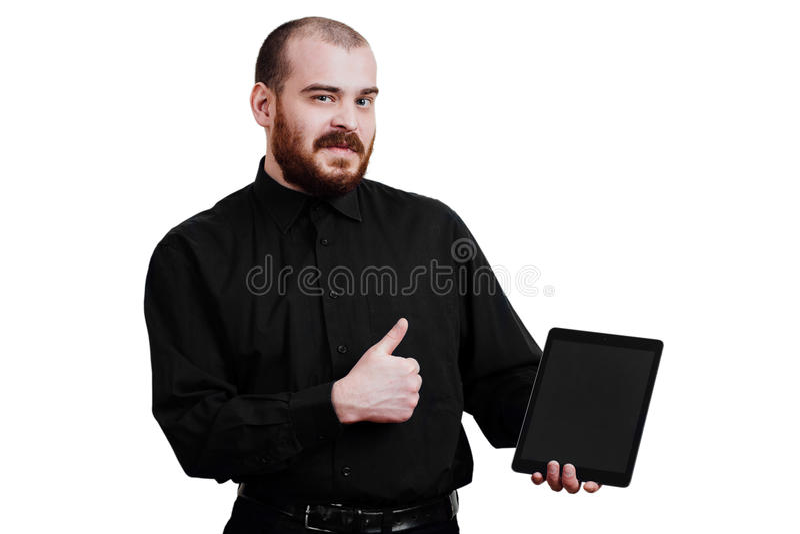 Ritratto di un brutale maschio rosso-barbuto e calvizia B isolata bianco immagine stock libera da diritti