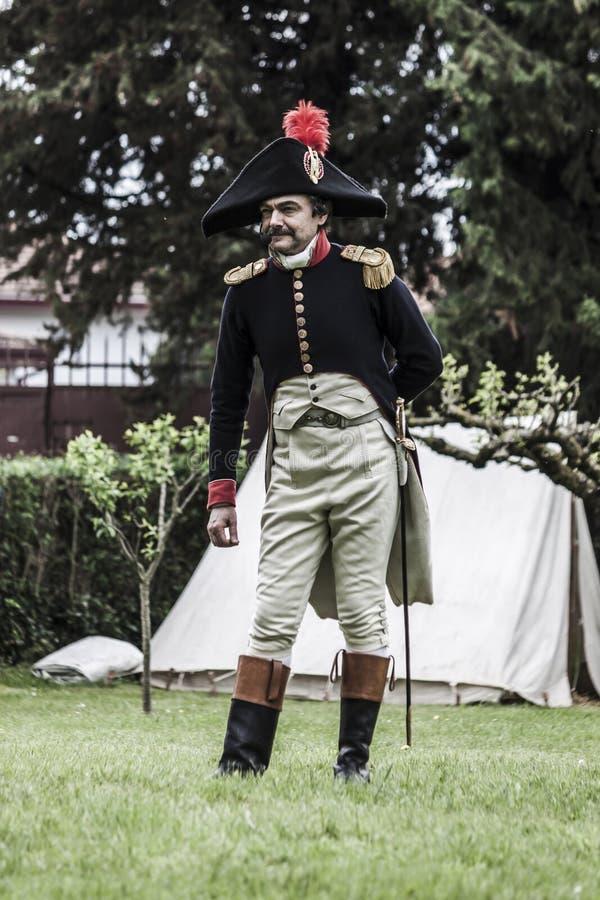 Ritratto di un capitano dell'esercito napoleonico fotografie stock