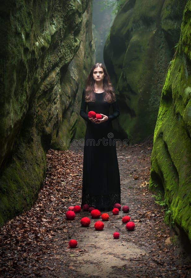 Ritratto di un castana in un vestito nero che sta vicino alle rocce e tiene in sue mani fotografia stock libera da diritti