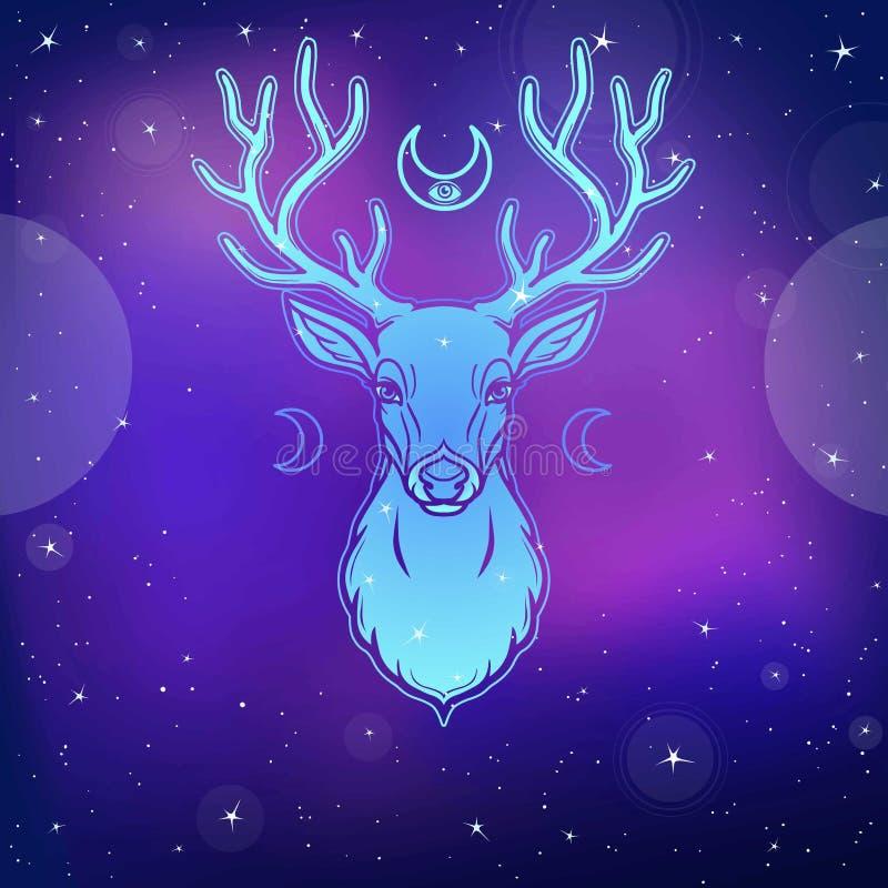 Ritratto di un cervo cornuto - uno spirito di legno, la divinità pagana, la protezione di animazione della natura illustrazione di stock
