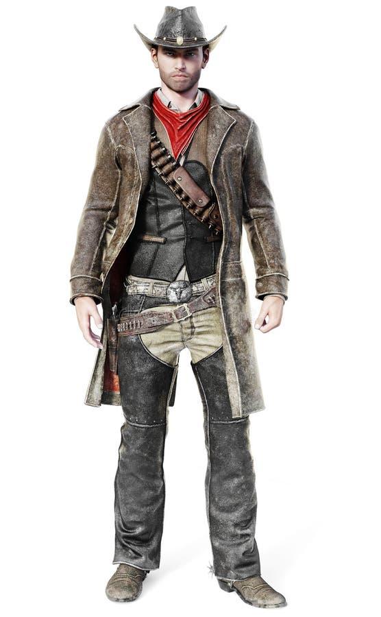 Ritratto di un cowboy maschio in un'attrezzatura occidentale tradizionale pronta per estrarre la sua arma illustrazione vettoriale