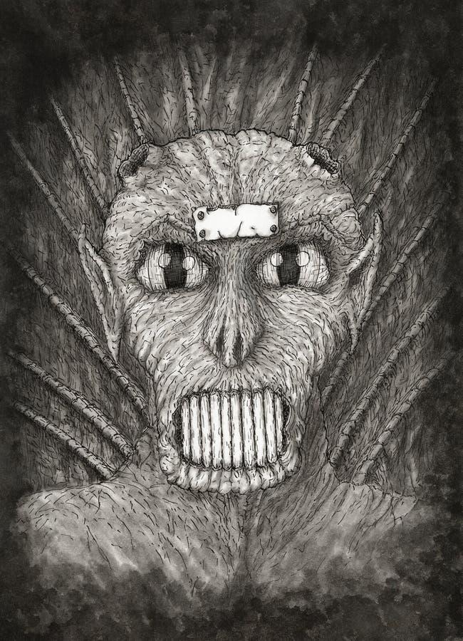 Ritratto di un demone di fantasia illustrazione di stock