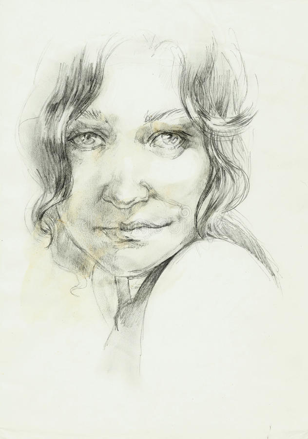 Ritratto di un disegno a matita riccio della donna del beutifull illustrazione vettoriale