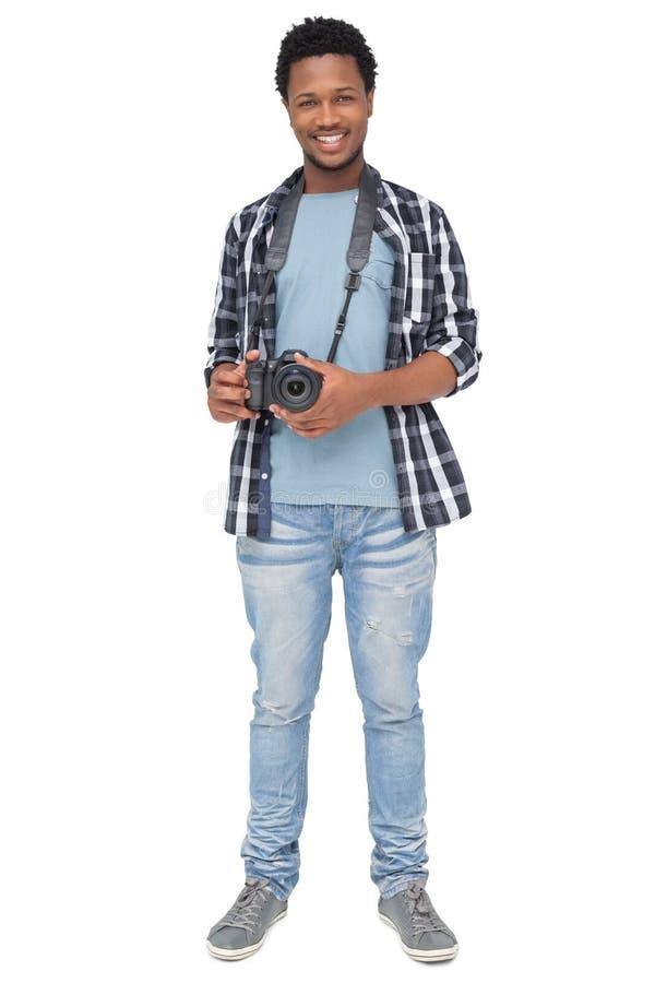 Ritratto di un fotografo maschio felice fotografie stock libere da diritti