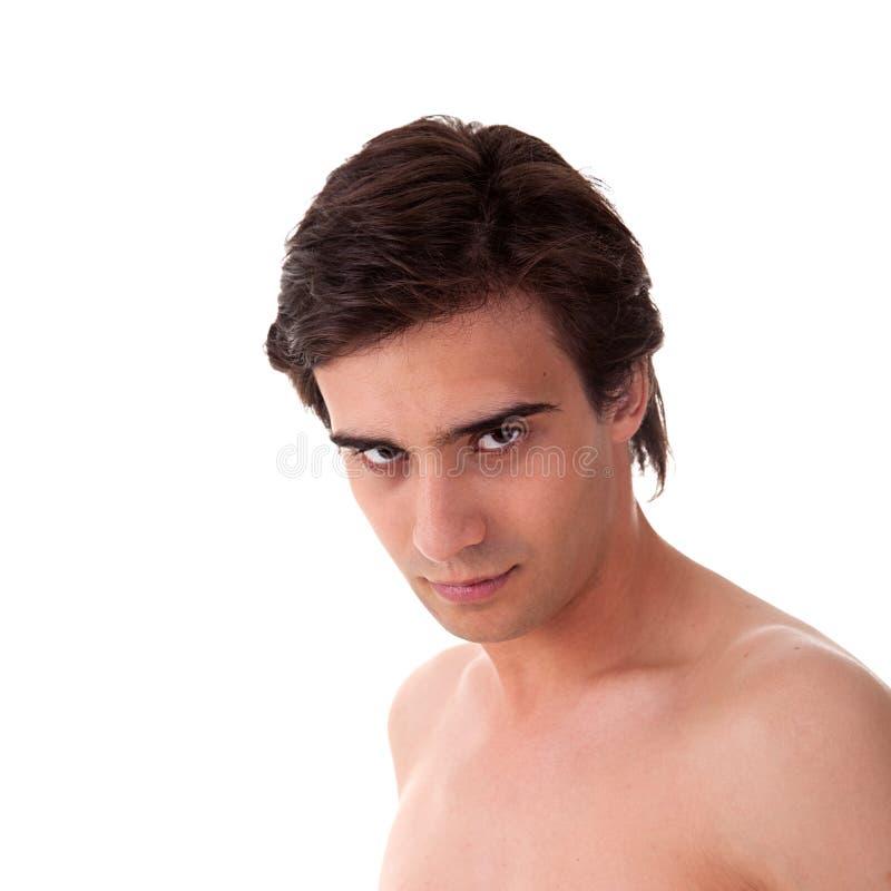 Ritratto di un giovane bello in topless fotografia stock