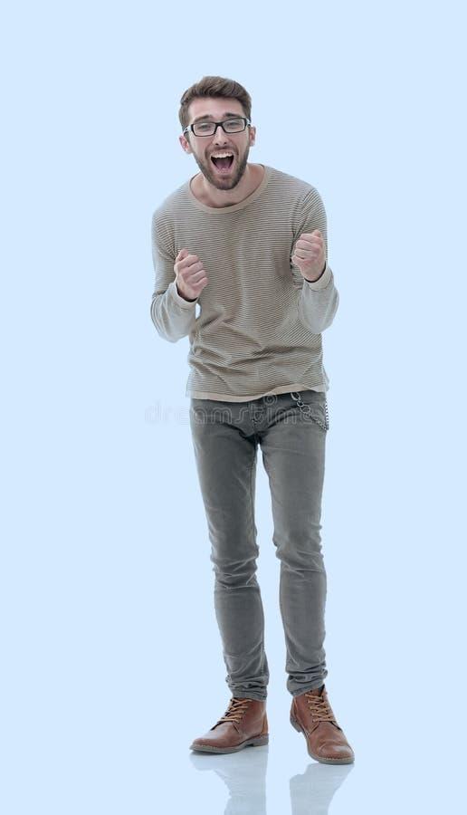 Ritratto di un giovane molto felice fotografia stock libera da diritti