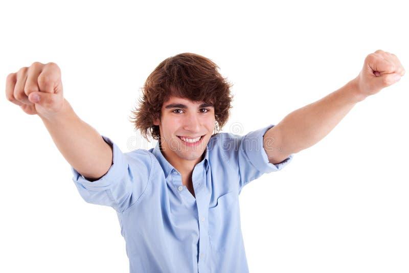 Ritratto di un giovane molto felice con le sue braccia fotografie stock libere da diritti