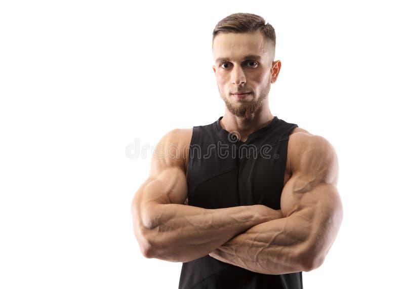 Ritratto di un modello maschio muscolare su fondo bianco fotografie stock