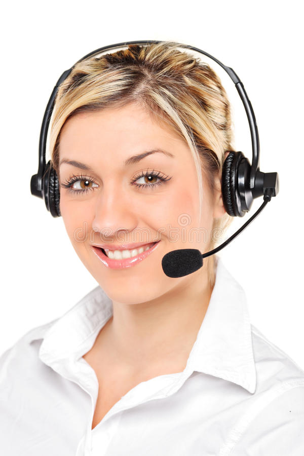 Ritratto di un operatore femminile di servizio di assistenza al cliente fotografie stock libere da diritti