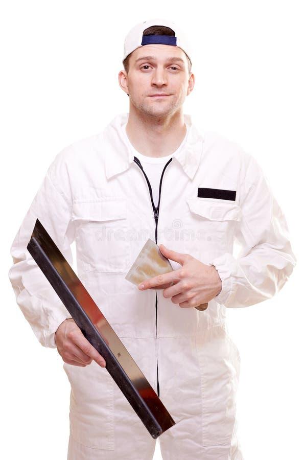 Ritratto di un plasterer fotografia stock libera da diritti