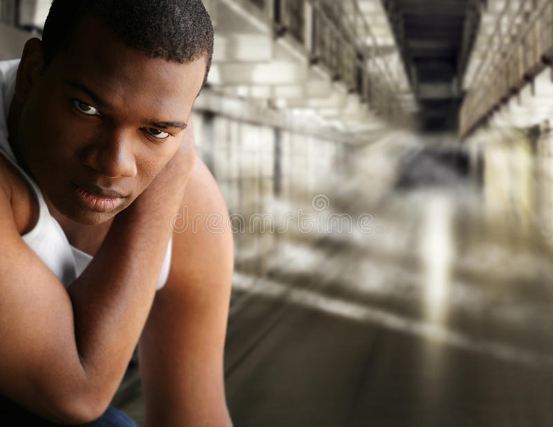 Ritratto di un prigioniero fotografia stock libera da diritti