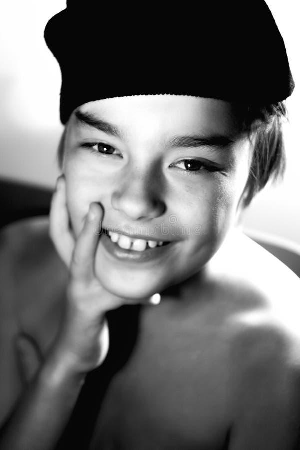 Ritratto di un ragazzo di nove anni fotografie stock