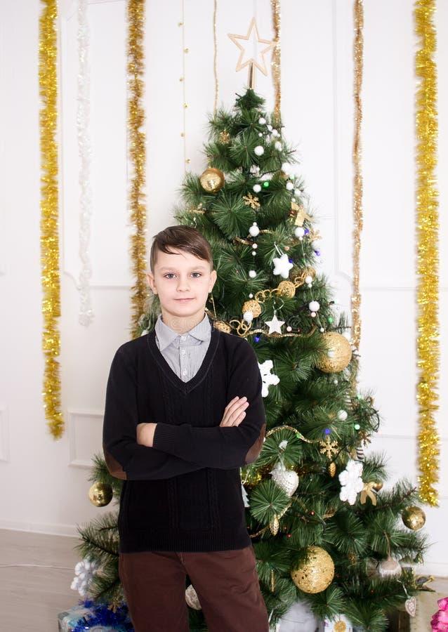 Ritratto di un ragazzo sveglio vicino all'albero di Natale immagine stock