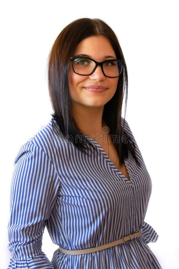 Ritratto di un responsabile su un fondo bianco immagine stock