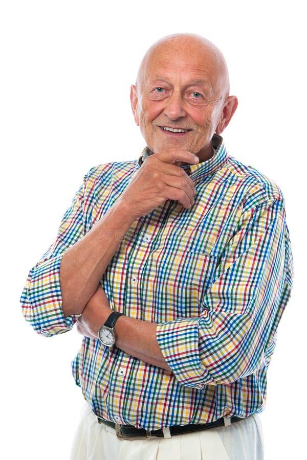 Ritratto di un sorridere felice dell'uomo maggiore fotografia stock libera da diritti