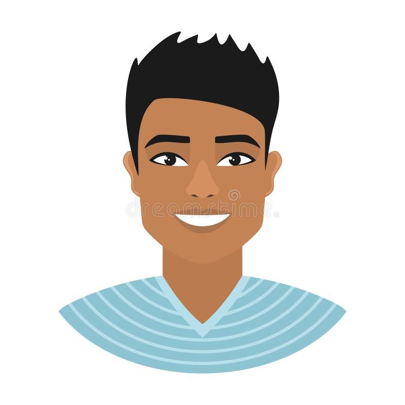 Ritratto di un uomo asiatico sorridente in una camicia a strisce blu illustrazione vettoriale