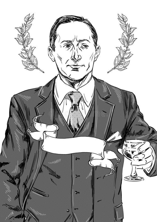 Ritratto di un uomo d'affari di mezza età alla moda in abito tre pezzi illustrazione di stock
