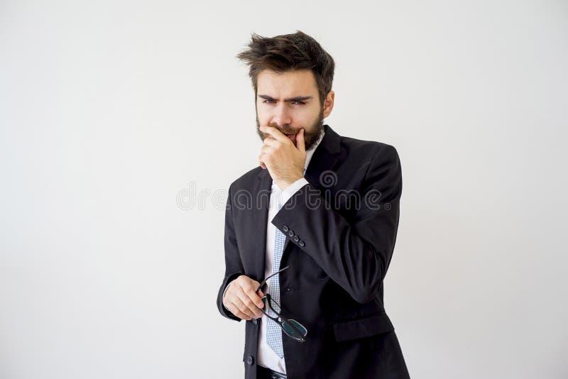 Ritratto di un uomo d'affari stanco fotografie stock