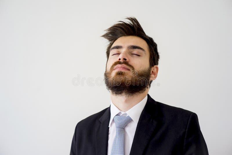 Ritratto di un uomo d'affari stanco fotografia stock