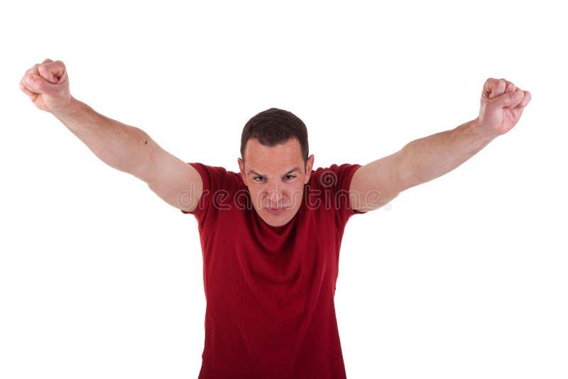 Ritratto di un uomo felice con le sue braccia alzate immagine stock libera da diritti