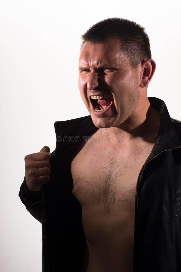 Ritratto di un uomo di grido immagini stock libere da diritti