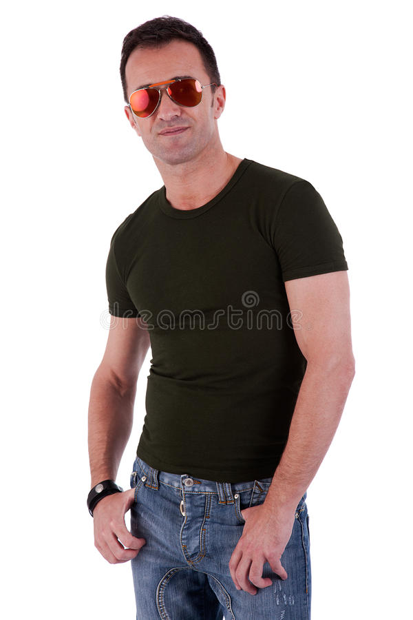 Ritratto di un uomo maturo bello con i vetri di sole fotografia stock