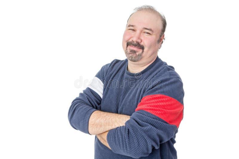 Ritratto di un uomo maturo calvizia amichevole fotografia stock libera da diritti