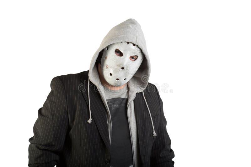 Ritratto di un uomo nella maschera terrificante fotografia stock