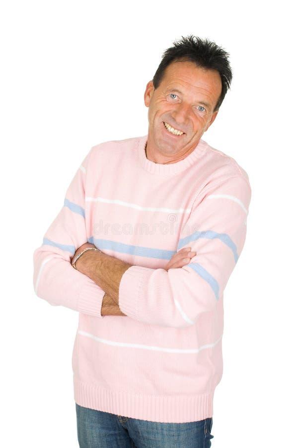 Ritratto di un uomo sorridente invecchiato centrale immagine stock libera da diritti