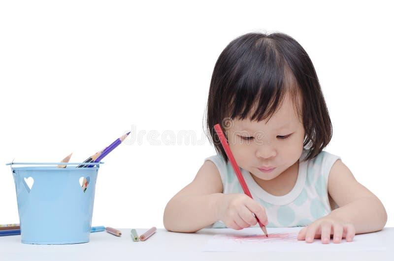 Ritratto di una bambina che disegna uno schizzo immagine stock