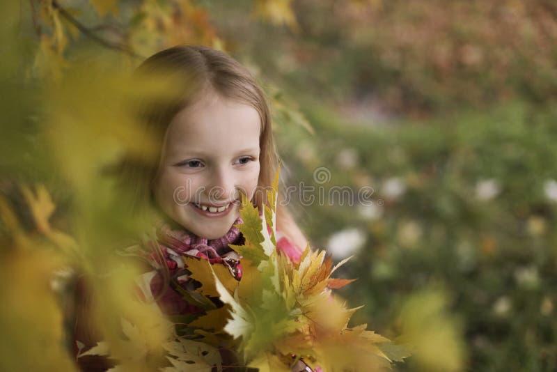 Ritratto di una bambina sorridente felice nel parco di autunno Quattro anni svegli del bambino che gode della natura all'aperto fotografia stock
